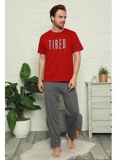 Pemilo Erkek 6160-2 Desenli Cepli Kısa Kol Pijama Takımı KIRMIZI Kırmızı